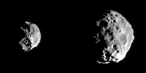 Deux Photographies de Phoebé (d = 220 km), prises le 12 juin 2004 au cours de son approche du satellite