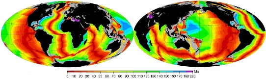 Cartes des âges (en millions d'années, Ma) des fonds océaniques obtenus par le magnétisme