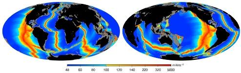 Flux de chaleur océanique calculé à partir de la carte des âges du plancher océanique