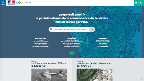 Extrait de la page d'accueil du Géoportail consultée le 19 février 2017