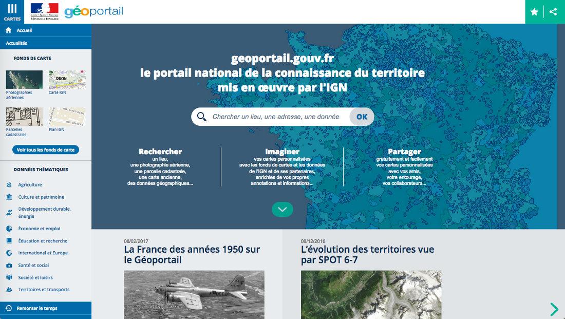 """Extrait de la page d'accueil du Géoportail consultée le 19 février 2017, menu """"Cartes"""" déroulé (à gauche)"""
