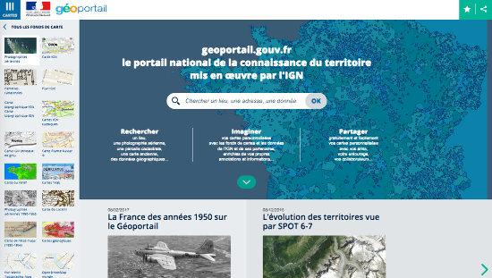 """Extrait de la page d'accueil du Géoportail consultée le 19 février 2017, sélection """"Voir tous les fonds de carte"""" (à gauche)"""