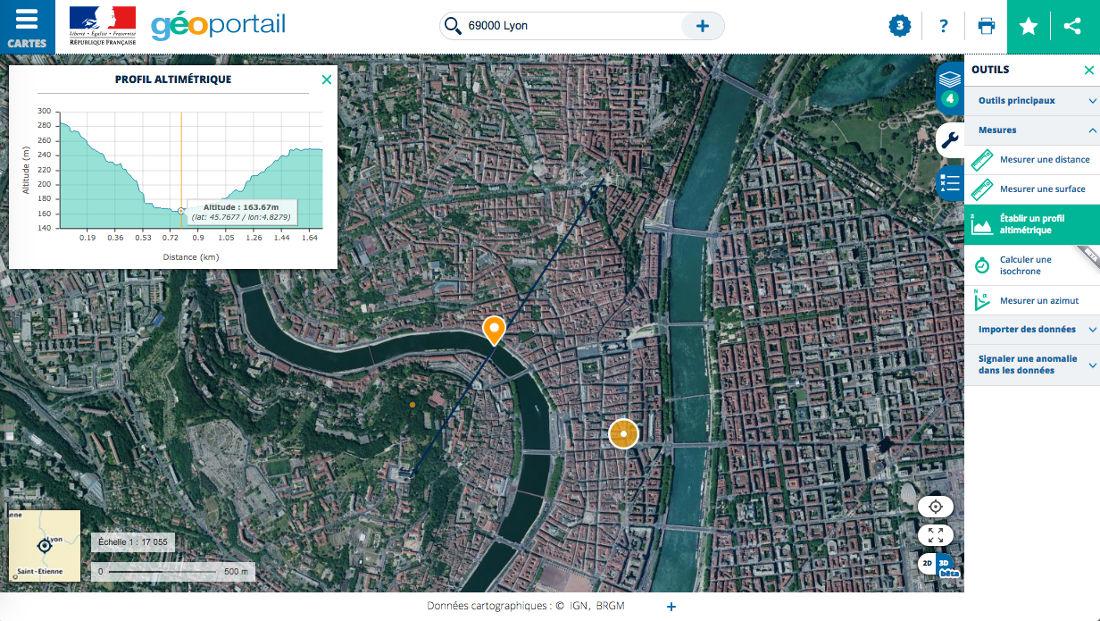 Réalisation d'un profil altimétrique entre les collines de Fourvière et de la Croix-Rousse, à Lyon