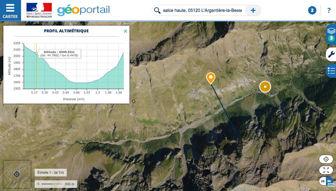 """Réalisation d'un profil altimétrique au niveau d'une vallée glaciaire, dite """"en U"""", dans la vallée du Fournel, non loin du hameau de Salce Haute (L'Argentière-la-Bessée, Hautes Alpes)"""