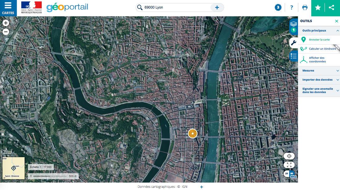 Annotation de quelques éléments du centre-ville de Lyon avec les outils du Géoportail