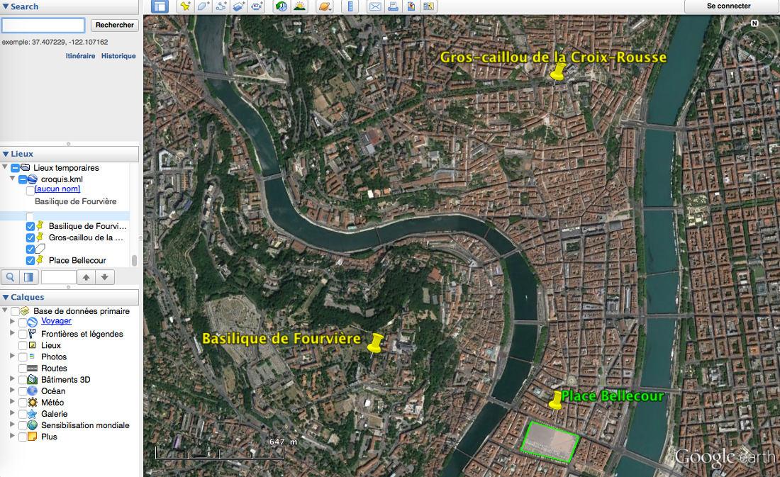 """Les annotations effectuées sur le site du Géoportail, exportées comme fichier """"kml"""", peuvent aussi être ouvertes avec Google earth (Fichier/Ouvrir)"""