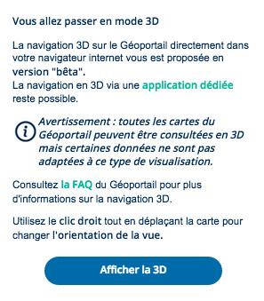 Message d'avertissement apparaissant lors de l'activation de la visualisation 3D