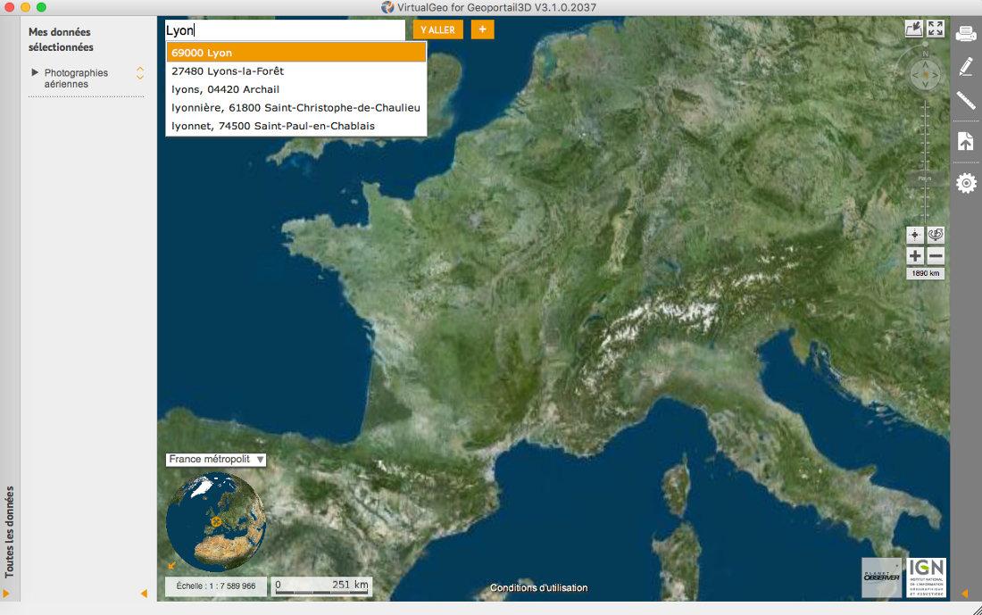 VirtualGéo, application 3D dédiée du Géoportail
