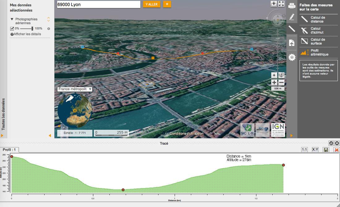 VirtualGéo, application 3D dédiée du Géoportail, et ses outils
