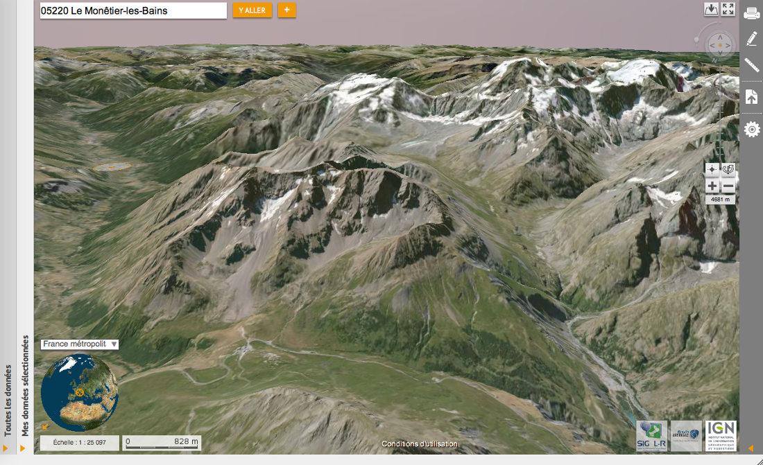 Glaciers rocheux au niveau du col du Lautaret (Hautes-Alpes), le massif du Combeynot vu par VirtualGéo