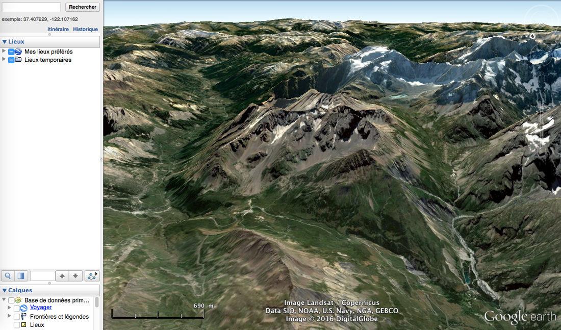 Glaciers rocheux au niveau du col du Lautaret (Hautes-Alpes), le massif du Combeynot vu par Google earth