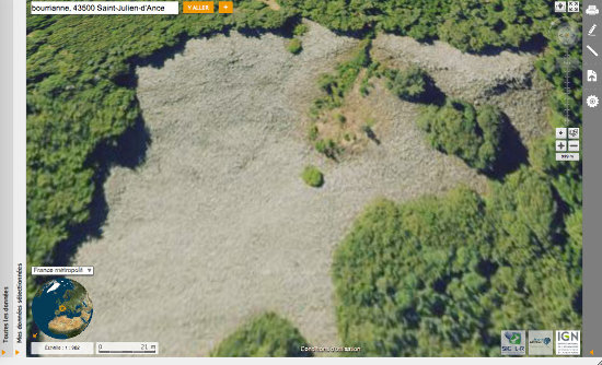 """La """"coulée de lave"""" de Bourrianne, en Haute-Loire, vue par VirtualGéo"""