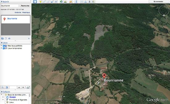 """La """"coulée de lave"""" de Bourrianne, en Haute-Loire, vue par Google earth"""