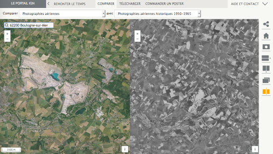 Comparaison de la superficie recouverte par les Carrières du Boulonnais aujourd'hui et à la sortie de la Seconde Guerre Mondiale