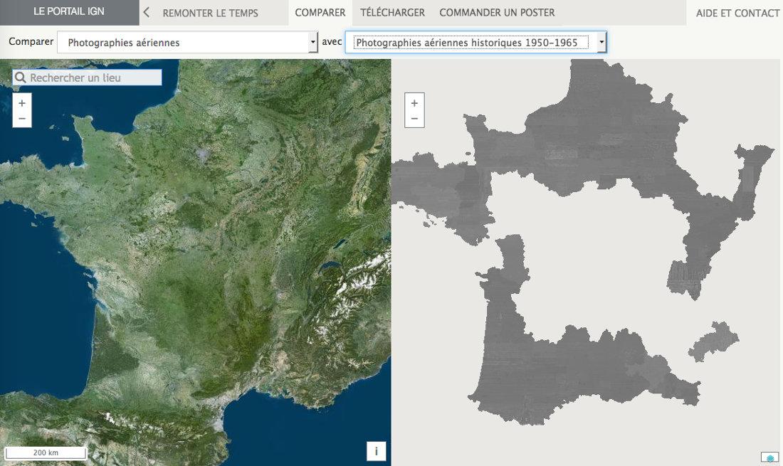 L'utilisation de la comparaison directe entre l'époque actuelle et 1950-1965 n'est pas encore disponible pour toute la France