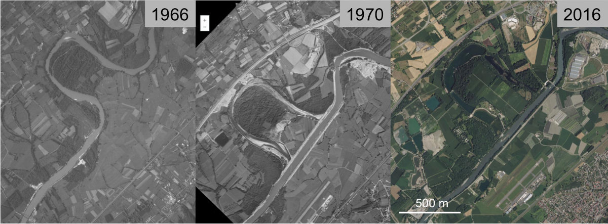 Aménagement de l'Isère au niveau de l'actuelle base de loisirs du Bois Français (commune de Saint-Ismier et du Versoud, Isère)