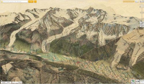 Vallée de Chamonix, carte d'état-major de 1863 superposée au relief actuel