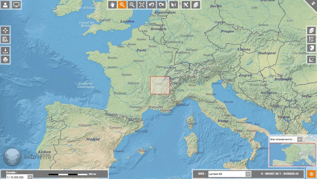 Obtention des notices de cartes géologiques avec le portail Infoterre du BRGM - choix du secteur