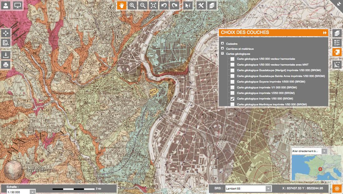 Obtention des notices de cartes géologiques avec le portail Infoterre du BRGM - carte géologique