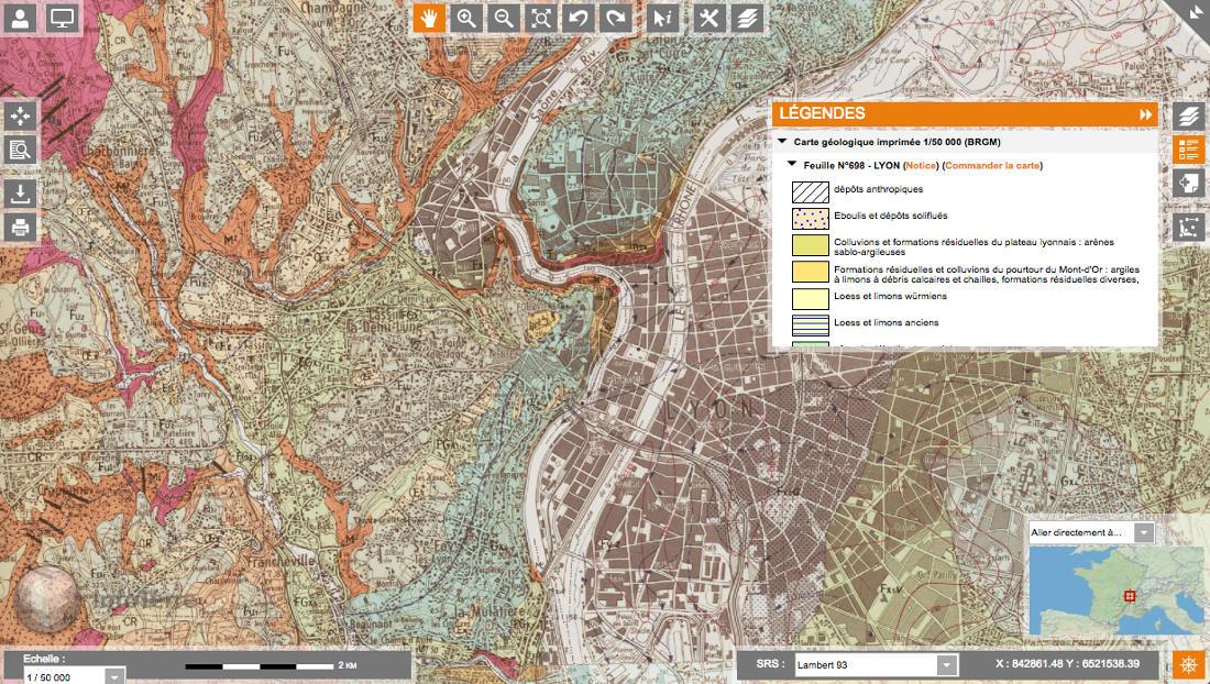 Obtention des notices de cartes géologiques avec le portail Infoterre du BRGM - accès à la notice à télécharger