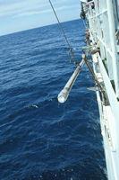 Carotte sédimentaire remontée à bord d'un bateau de forage