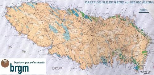 Carte BRGM de L'île de Groix au 1/25.000