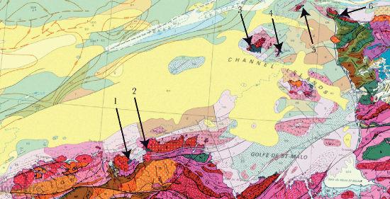 Localisation des affleurements icartiens en France et sur les îles anglo-normandes sur la carte géologique de la France au millionième