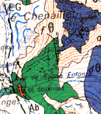 Plagiogranite de la Cabane des Douaniers, complexe du Chenaillet (carte de Briançon au 1/50000)