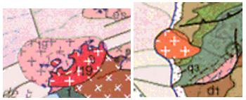 Plutons de Ploumanac'h (gauche) et Flamanville (droite)