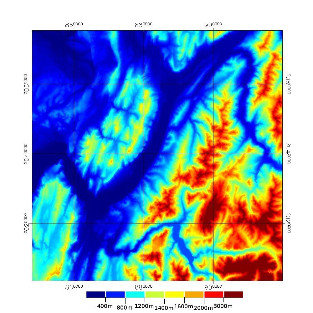 Les alentours du massif de la Chartreuse : carte des altitudes