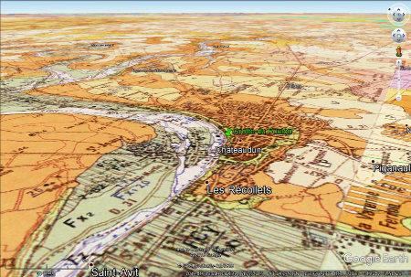 Localisation de la grotte du Foulon à Châteaudun sur la carte géologique à 1/50000