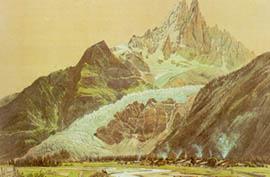 Le glacier des Bois en 1823 (litho de J. Dubois)