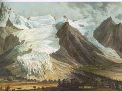 Glaciers des Bossons et de Taconnaz vers 1840 (Litho de I. Deroy)