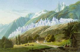 Un glacier, au plus fort de sa poussée vers 1820, dans la vallée de Chamonix (litho de J. Dubois)