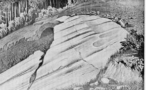 Roches polies et striées par un ancien glacier représentées par L. Agassiz en 1840