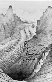 Le glacier de Zermatt représenté par Louis Agassiz en 1840