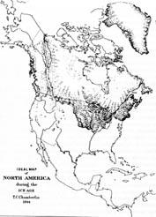 Première représentation de la calotte Nord-américaine par T. C. Chamberlin