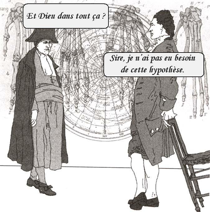 """Napoléon et Laplace """"discutant"""" du Système du Monde"""
