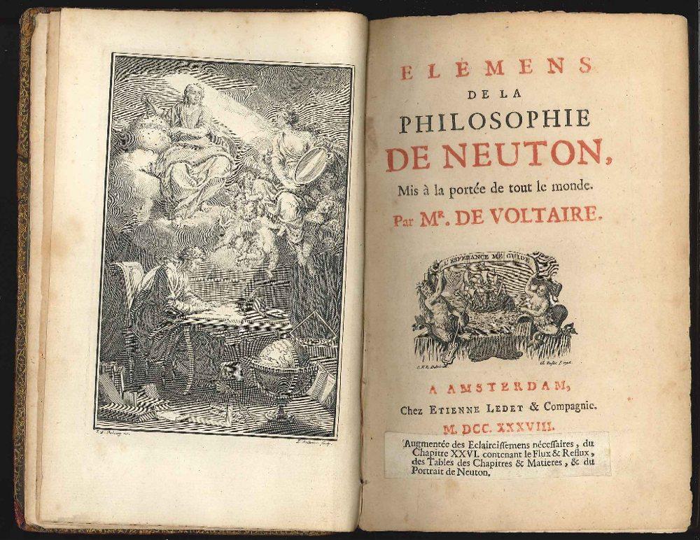 """Premières pages des """"Élements de Philosophie"""", Newton"""