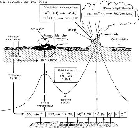 Schéma conceptuel des principaux processus chimiques des évents hydrothermaux des rides médio-océaniques