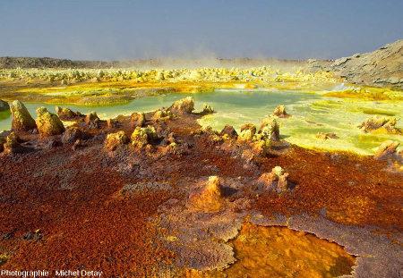 Dallol (dépression Danakil, Éthiopie), un champ de sources hydrothermales qui sortent à travers une épaisse couche d'évaporites (principalement de halite)