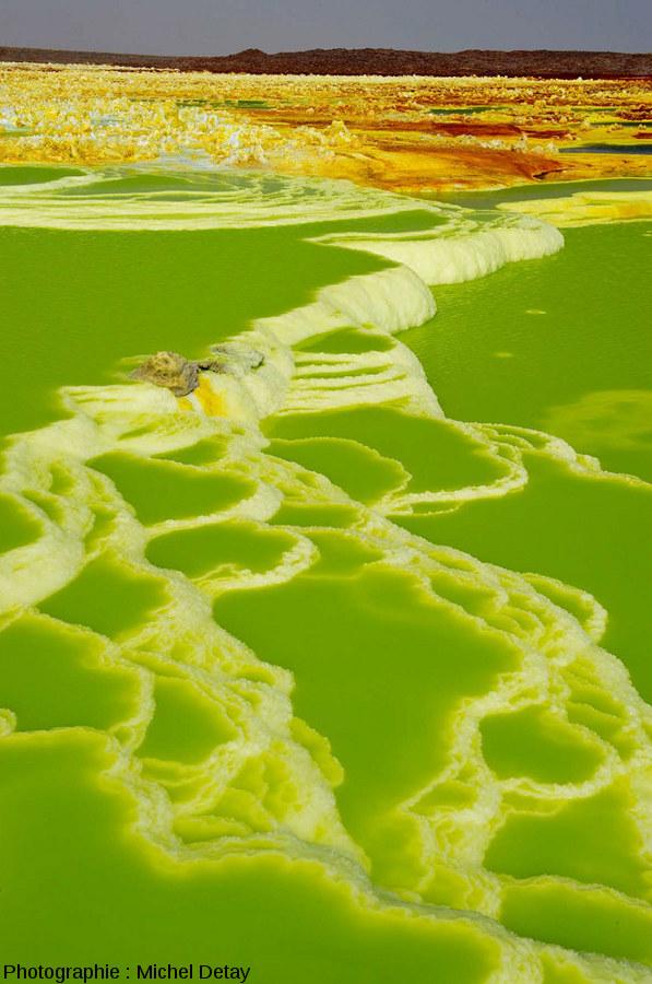 Dallol (dépression Danakil, Éthiopie), les sources hydrothermales sortent à travers une épaisse couche d'évaporites (principalement de halite)