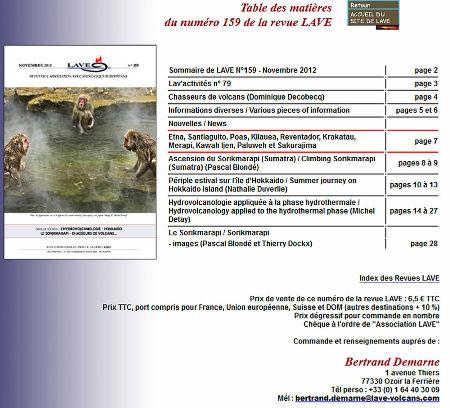 Table des matière du n° 159 (novembre 2012) de la revue LAVE