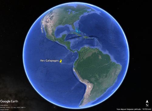 Localisation des Galapagos dans l'océan Pacifique