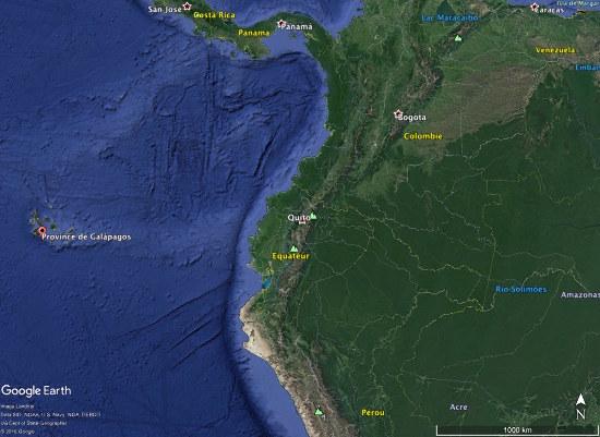 Localisation des Galapagos au large des côtes équatoriennes