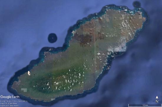 Vue satellite de l'ile San Cristobal et de sa végétation, Galapagos