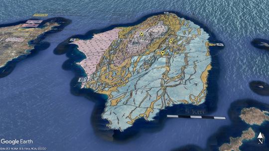 Carte géologique de Naxos drapée sur une vue Google Earth inclinée vers le Nord