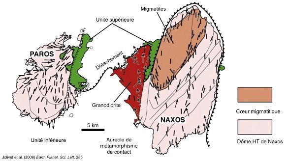 Structure tectonique de Naxos et Paros (iles des Cyclades) montrant les directions (traits) ou les sens (flèches) d'étirement majeurs identifiables dans les roches métamorphiques (linéations) et magmatiques (fluidalité magmatique)