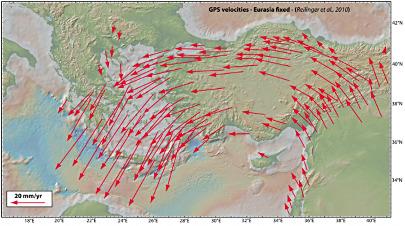 Mesures GPS du déplacement de l'Anatolie et de la Grèce par rapport à l'Eurasie