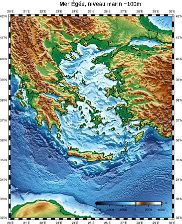 Topographie de la Mer Égée pour un niveau marin plus bas de 100 mètres par rapport à l'actuel